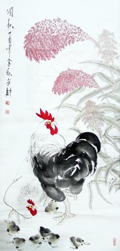 刘当财作品《颂秋》规格:138x68cm