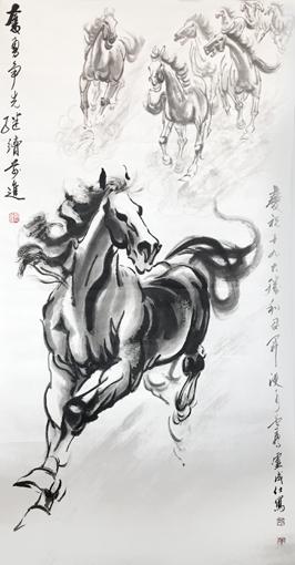 卢成仕作品——《奋勇争先》136cm×68cm