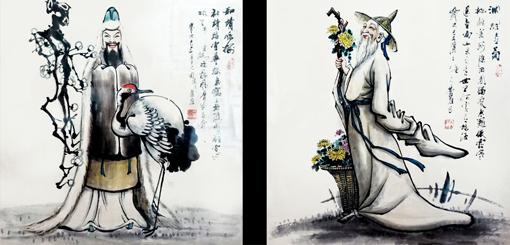 卢成仕作品——《和靖咏梅》《渊明赏菊》 68cm×68cm