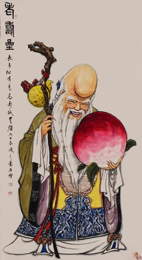 卢成仕作品——《老寿星》68cm×136cm