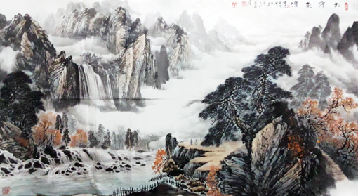 卢成仕作品——《松荫观瀑》184cm×92cm