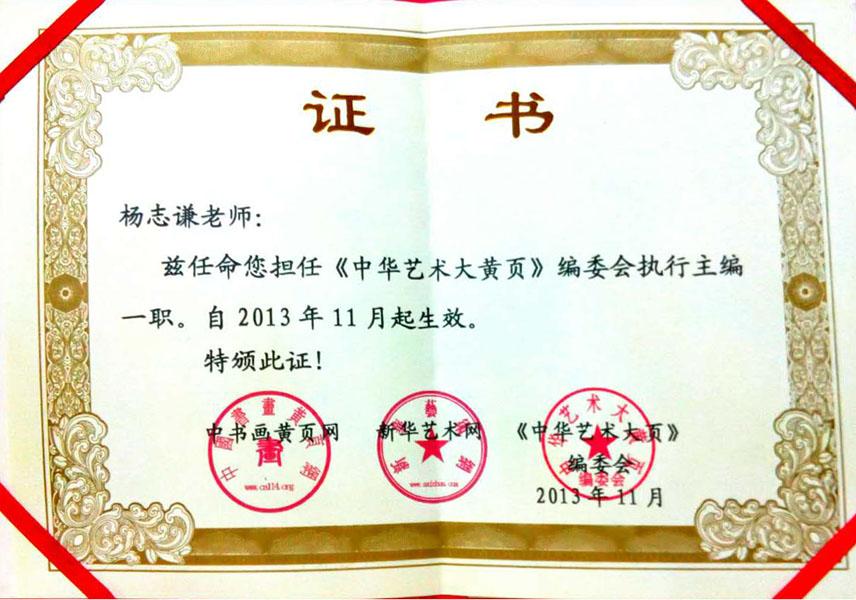 2013年担任《中华艺术大黄页》执行总编
