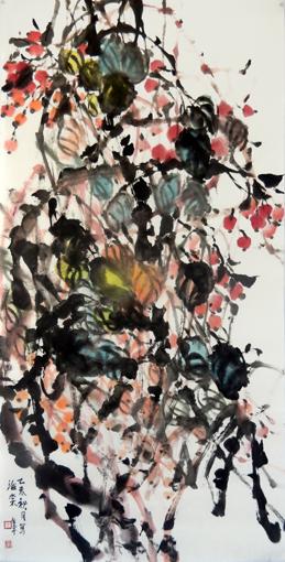 道金平作品《海棠》68x138cm.2015年。
