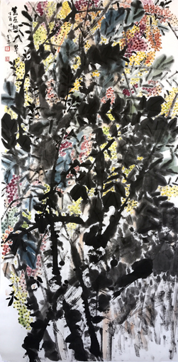道金平作品《荒原撷翠》68x138cm,2017年。