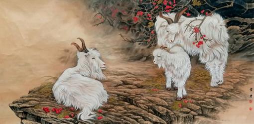 宁雪君画作《三羊开泰》