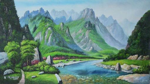 乔领画作《绿水青山就是金山银山》