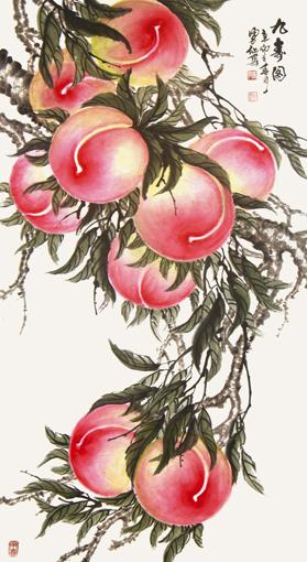 刘凤仙作品《九寿图》 规格:200x100cm 价格:148万元(也可面议)