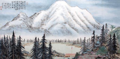 《美国雷尼尔雪山》 68cm×133cm 2009年
