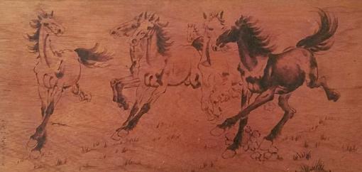 《马》烙画作品