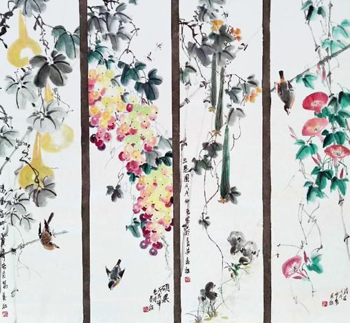 《花鸟四条屏》尺寸:三尺对开四条屏 价格:3000元整幅
