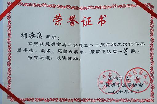 2007年昆明市职工文化作品展书法一等奖