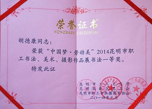 2014年昆明市职工书画展一等奖