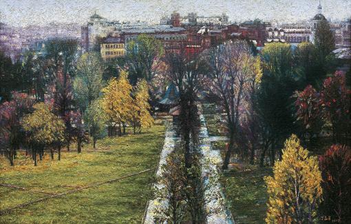 《俄罗斯美术馆窗外的风景》65x100cm布面油彩