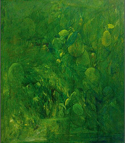 """《绿的孕育》150x130cm布面油彩(2011年入选""""艺术家眼中的当代中国-中国油画艺术展""""获优秀奖,展览收藏)"""