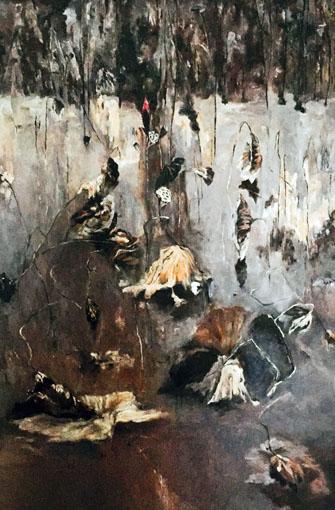 《残荷》第三展美术大展油画展优秀奖。120x80cm
