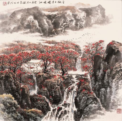 《金秋十月烂漫红》规格:68×68cm