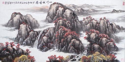 《山川秋晴图》规格:180×90cm