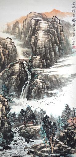《云林晴峦图》规格:138×68cm