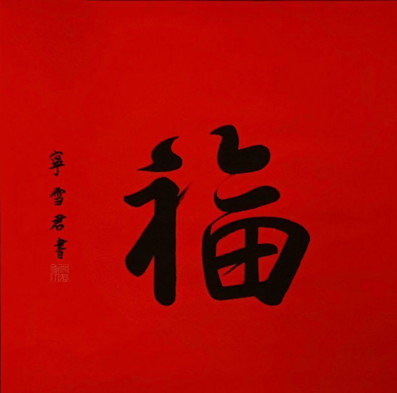 上图,王宁、刘纯燕三十年婚庆现场,宁雪君一幅别样的象形《福》字书法,两只深情蜜意的小鸟跃然纸上,生动活泼,喜庆典雅,引得满堂喝彩!