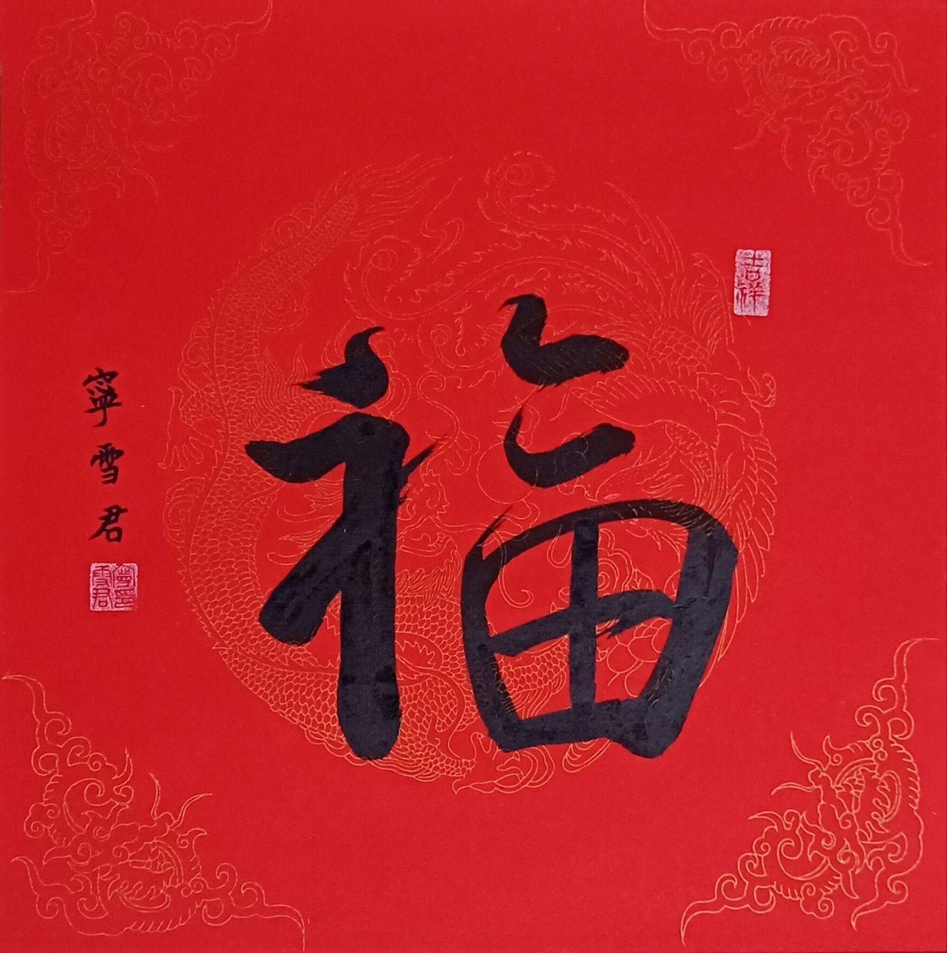 塞拉利昂驻华大使馆收藏宁雪君的书法作品中国《福》