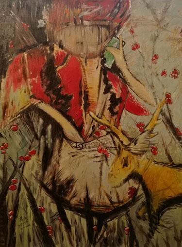油画《给妈妈打电话的山妞》80x120cm2017年
