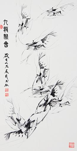 国画作品《九龙聚会》规格:138X69cm