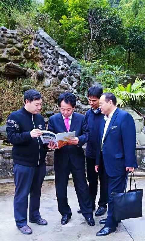 上图,乔领、宁雪君艺术馆,董泽英主席欣赏乔领、宁雪君作品集。