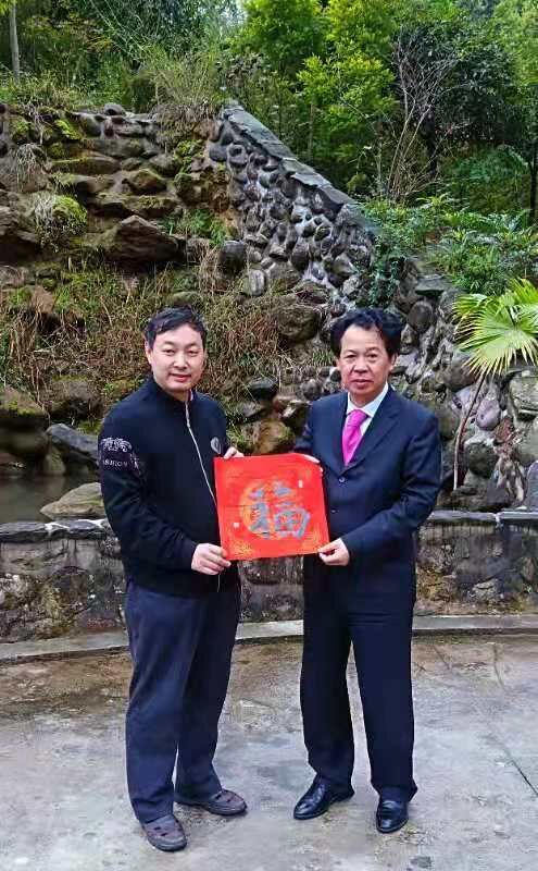 上图,乔领、宁雪君艺术馆,董泽英主席收藏宁雪君的书法作品中国《福。》