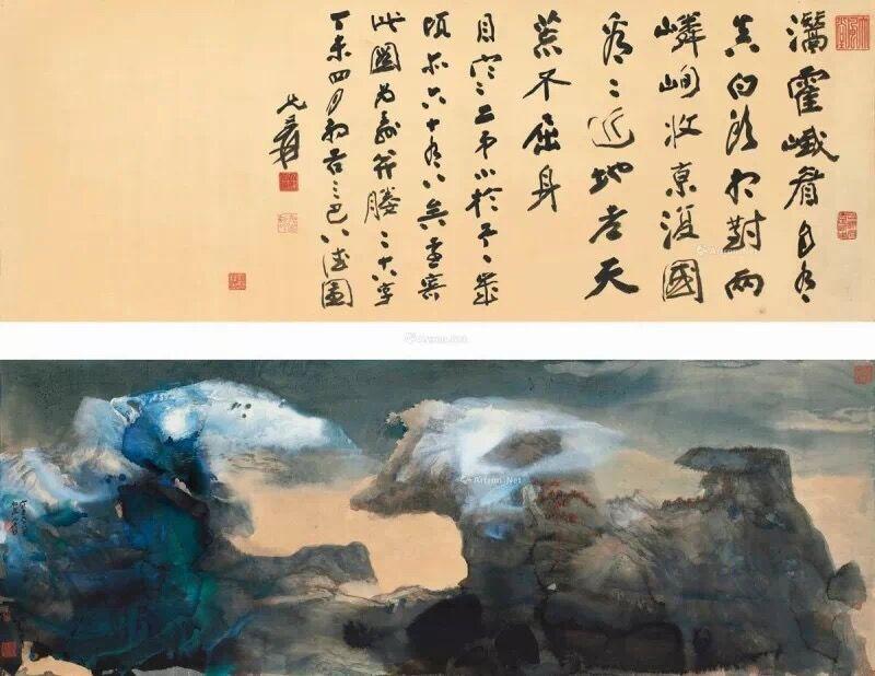 张大千1967年作《春山瑞雪》行书七絶 (一对),香港苏富比2018年春季拍卖会上拍,成交价8300.55万港元。