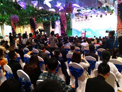 上图:乔领、宁雪君国礼书画展,在海口隆重举办开幕仪式。.jpg