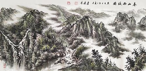李发林作品《春山雨后图》规格:180cmx70cm