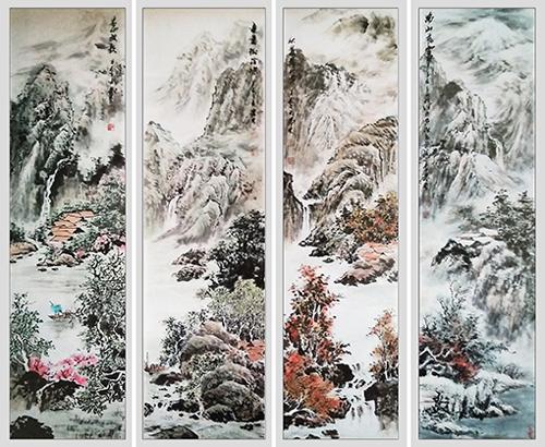 李发林作品《春夏秋冬四季山水》规格:178cmx45cmx4
